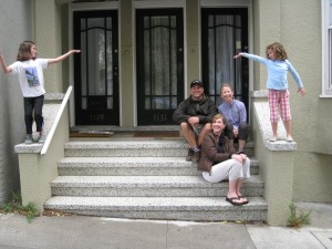 Fambly on the doorstoop